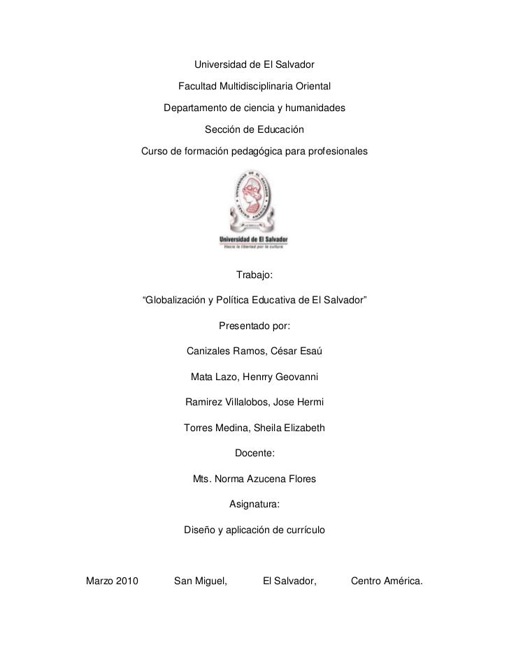 Universidad de El Salvador                     Facultad Multidisciplinaria Oriental                 Departamento de cienci...