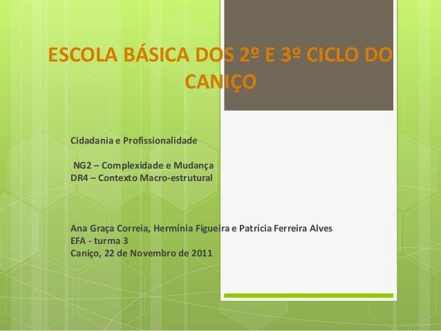 ESCOLA BÁSICA DOS 2º E 3º CICLO DO CANIÇO Cidadania e Profissionalidade NG2 – Complexidade e Mudança DR4 – Contexto Macro-...