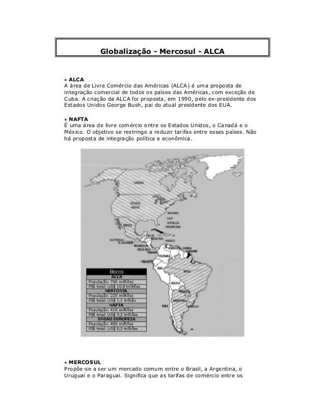 Globalização - Mercosul - ALCA • ALCA A área de Livre Comércio das Américas (ALCA) é uma proposta de integração comercial ...