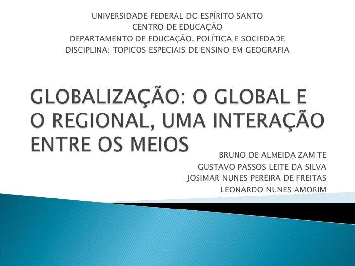 UNIVERSIDADE FEDERAL DO ESPÍRITO SANTO                CENTRO DE EDUCAÇÃO DEPARTAMENTO DE EDUCAÇÃO, POLÍTICA E SOCIEDADEDIS...