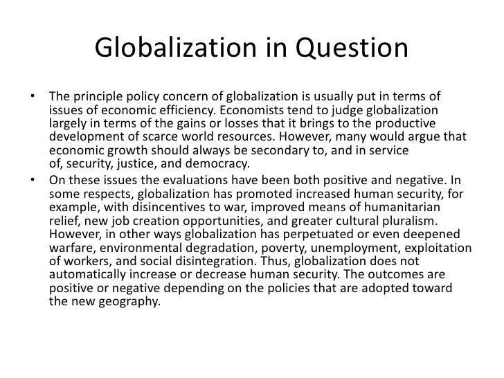 gains and losses from globalization We analyze the impact of globalization on individual gains from trade in a general equilibrium model of monopolistic competition featuring product diversity, pro-competitive effects and income heterogeneity between and within countries.
