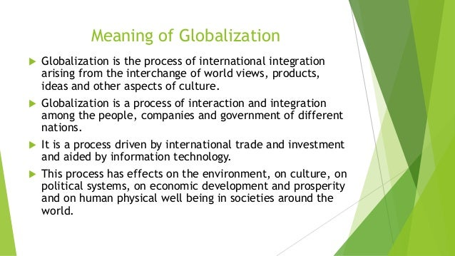 globalization and its effect on international