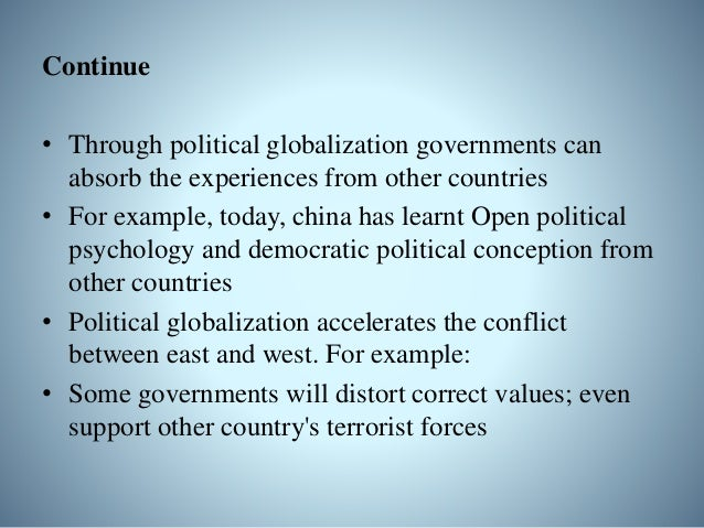 Global Governance • A movement towards political integration of transnational actors • Aim is negotiating responses to pro...