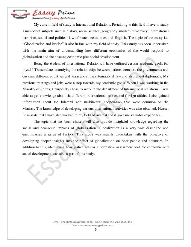globalization and justice essay sample  6 my current field of study is international relations