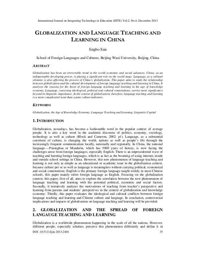 International Journal on Integrating Technology in Education (IJITE) Vol.2, No.4, December 2013  GLOBALIZATION AND LANGUAG...