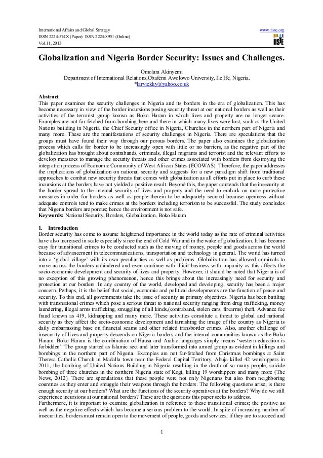 International Affairs and Global Strategy www.iiste.org ISSN 2224-574X (Paper) ISSN 2224-8951 (Online) Vol.11, 2013 1 Glob...