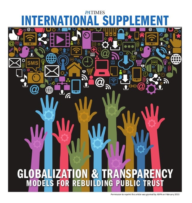 PATIMESINTERNATIONAL SUPPLEMENTGLOBALIZATION & TRANSPARENCY MODELS FOR REBUILDING PUBLIC TRUST                         Per...