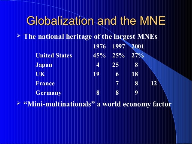 Globalization and the MNEGlobalization and the MNE  The national heritage of the largest MNEs 1976 1997 2001 United State...