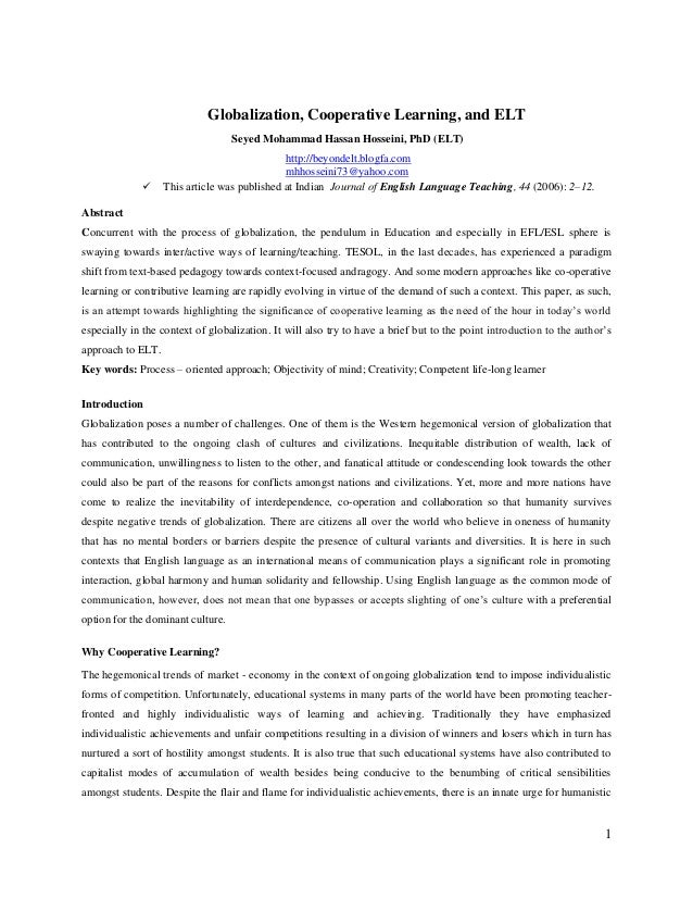 Globalization, Cooperative Learning, and ELT Seyed Mohammad Hassan Hosseini, PhD (ELT)    http://beyondelt.blogfa.com mhh...