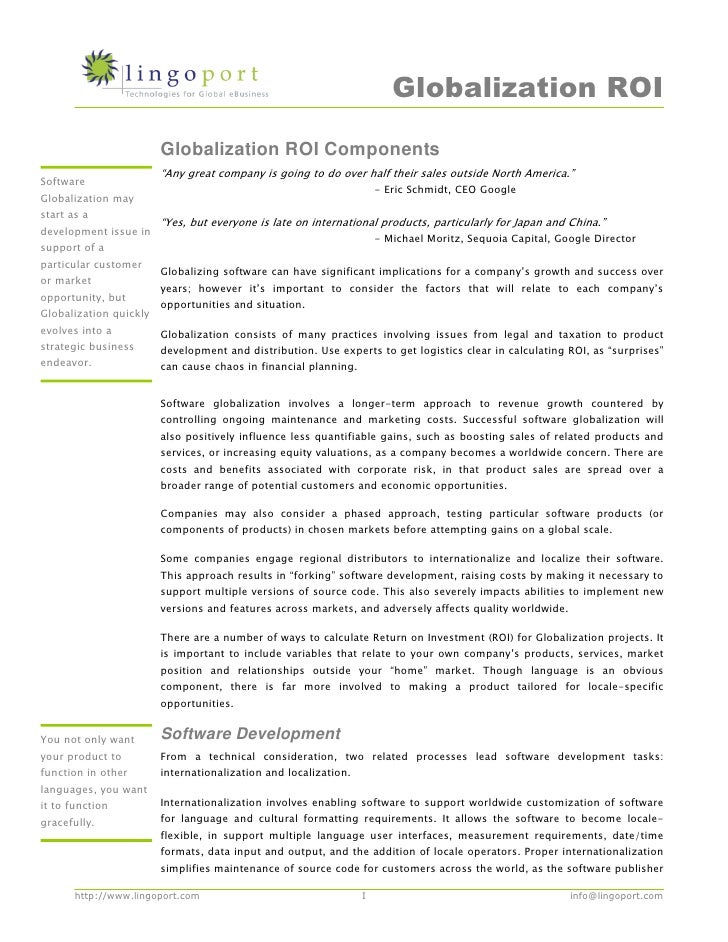 """Globalization ROI Components     (     """"   %                              !       """"                                       ..."""