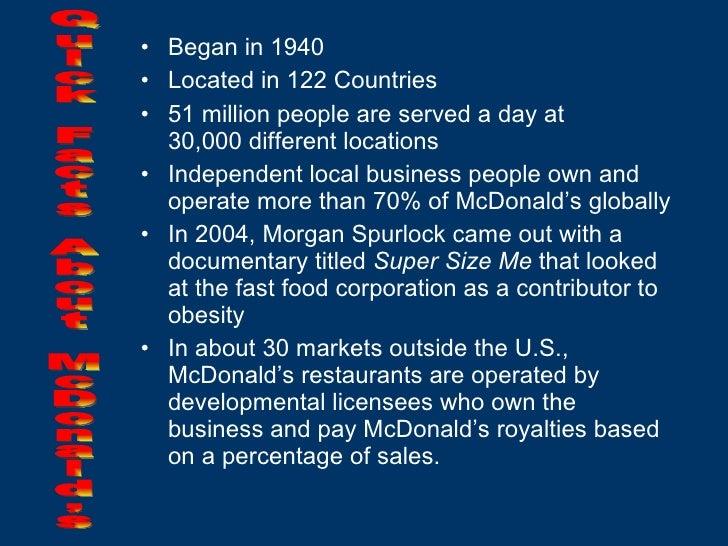 <ul><li>Began in 1940 </li></ul><ul><li>Located in 122 Countries </li></ul><ul><li>51 million people are served a day at  ...