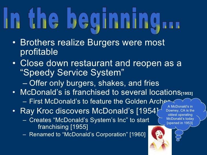 "<ul><li>Brothers realize Burgers were most profitable </li></ul><ul><li>Close down restaurant and reopen as a ""Speedy Serv..."