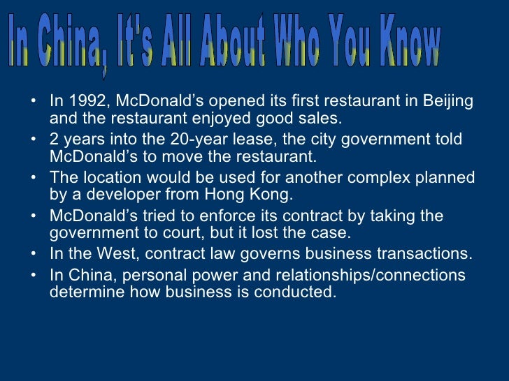 <ul><li>In 1992, McDonald's opened its first restaurant in Beijing and the restaurant enjoyed good sales. </li></ul><ul><l...