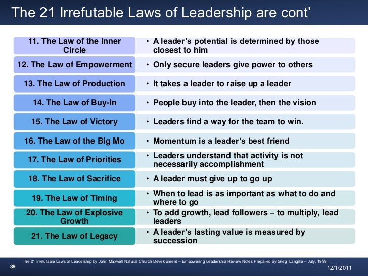 book report on 21 irrefutable laws of leadership The 21 irrefutable laws of leadership this web page provides excerpts from john c maxwell's book the 21 irrefutable laws of leadership (nashville.