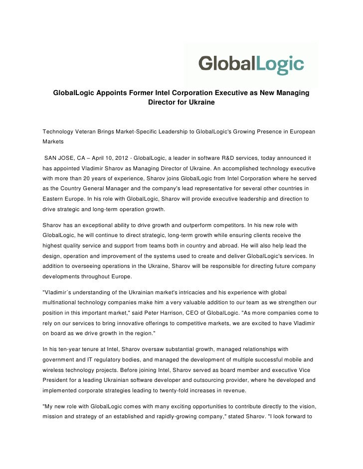 GlobalLogic Appoints Former Intel Corporation Executive as New Managing                             Director for UkraineTe...