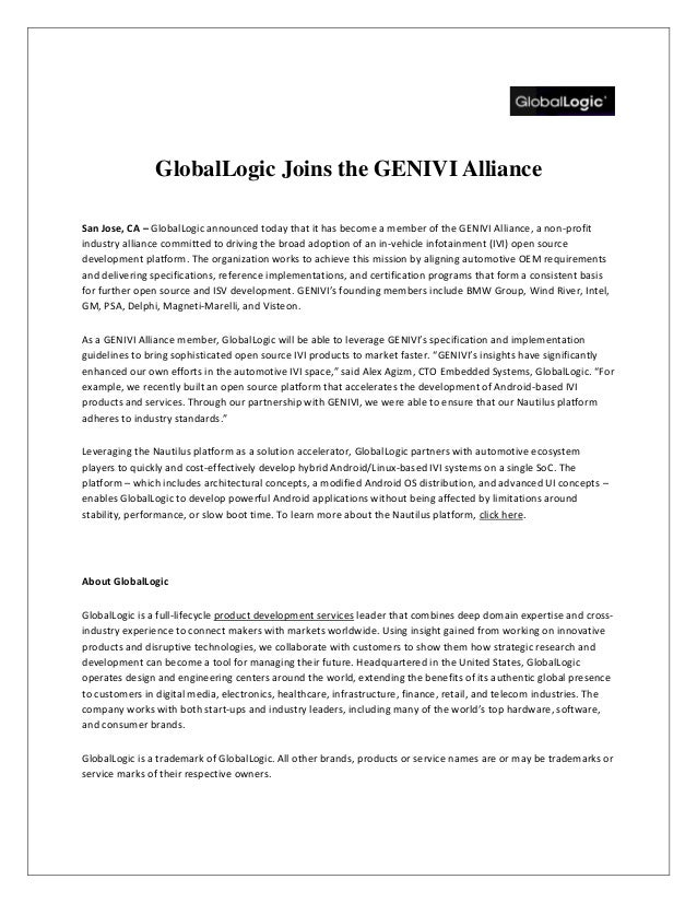 GlobalLogic Joins the GENIVI Alliance San Jose, CA – GlobalLogic announced today that it has become a member of the GENIVI...