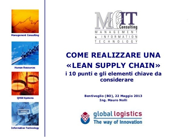 Management ConsultingHuman ResourcesQHSE SystemsInformation TechnologyCOME REALIZZARE UNA«LEAN SUPPLY CHAIN»i 10 punti e g...
