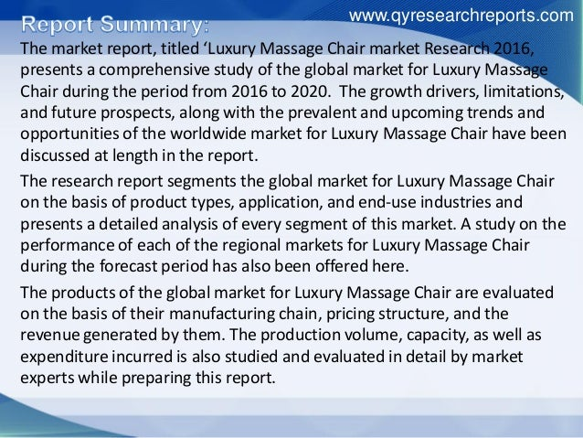 us luxury massage chair market research Massage chairs market: global industry analysis and forecast 2017 - 2025  are populous china and india, along with north america and western europe.