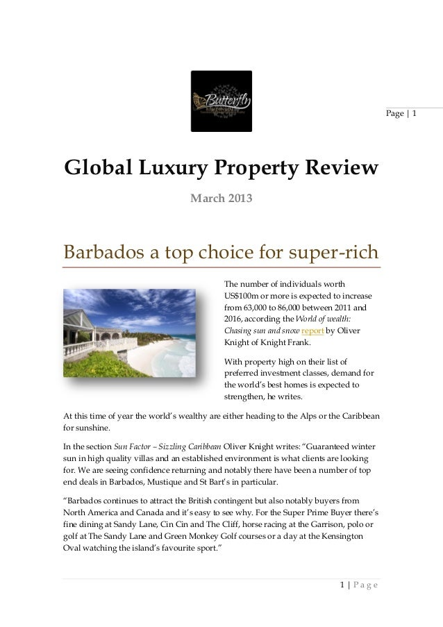 Page | 1Global Luxury Property Review                                   March 2013Barbados a top choice for super-rich    ...