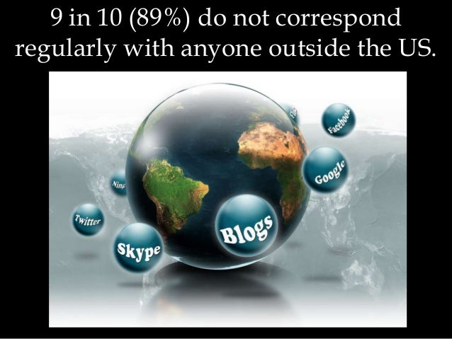 9 in 10 (89%) do not correspond regularly with anyone outside the US.