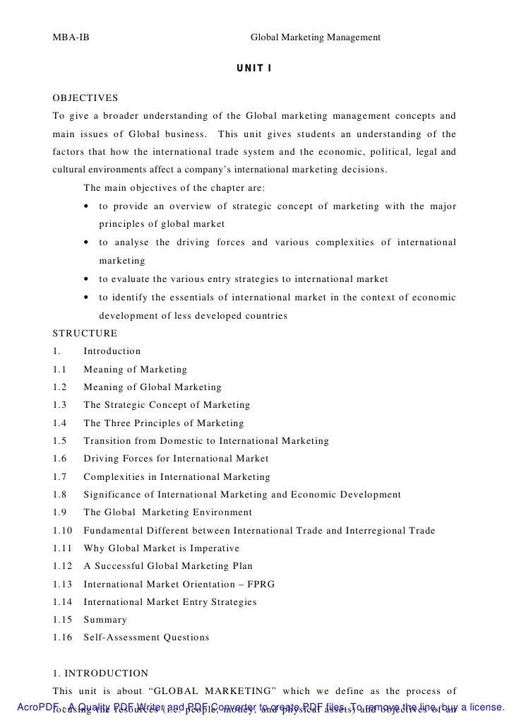 MBA-IB                                      Global Marketing Management                                                UNI...