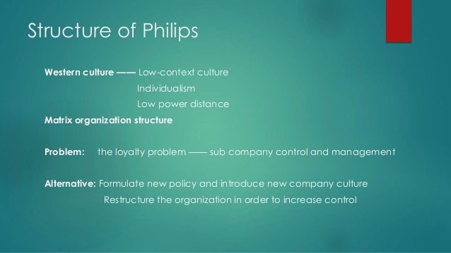 philips strategy and structure Gerard kleisterlee, ceo of technology company philips, talks to  the expansion  strategy we pursued in the second half of the 1990's was  i am sure, however,  that this structure doesn't represent the future of the industry.