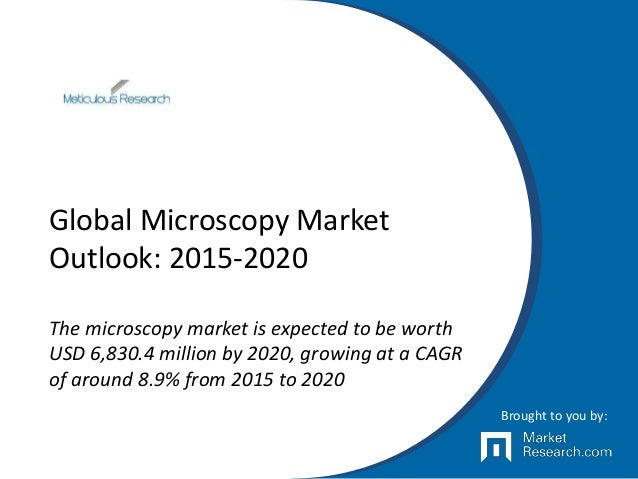 Global Microscopy Market Outlook: 2015-2020 The microscopy market is expected to be worth USD 6,830.4 million by 2020, gro...