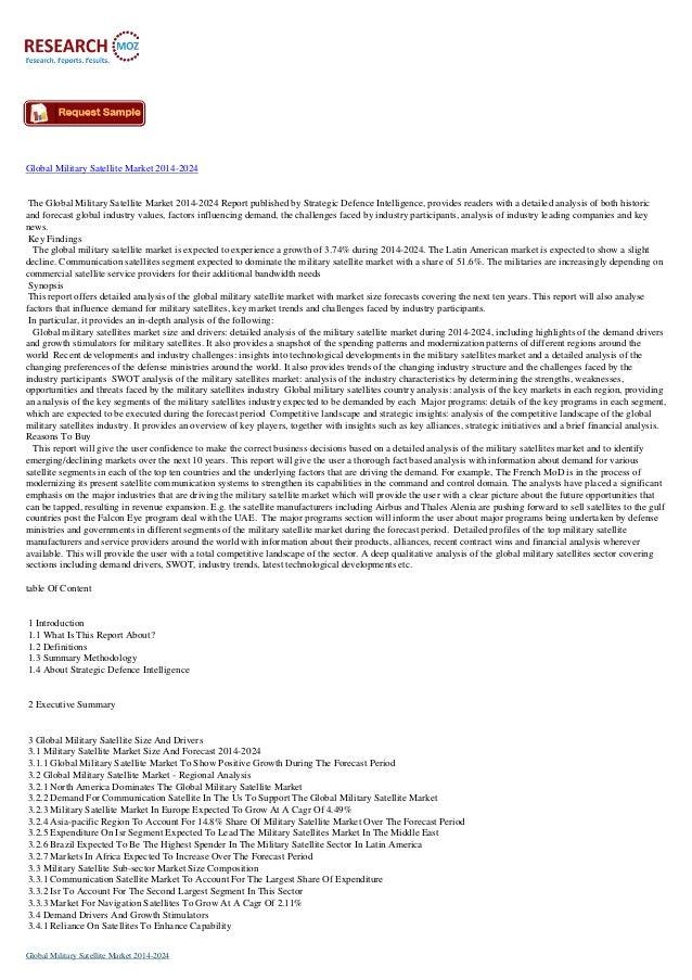 Global Military Satellite Market 2014-2024 The Global Military Satellite Market 2014-2024 Report published by Strategic De...