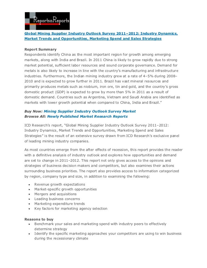 Global Mining Supplier Industry Outlook Survey 2011–2012: Industry Dynamics,Market Trends and Opportunities, Marketing Spe...