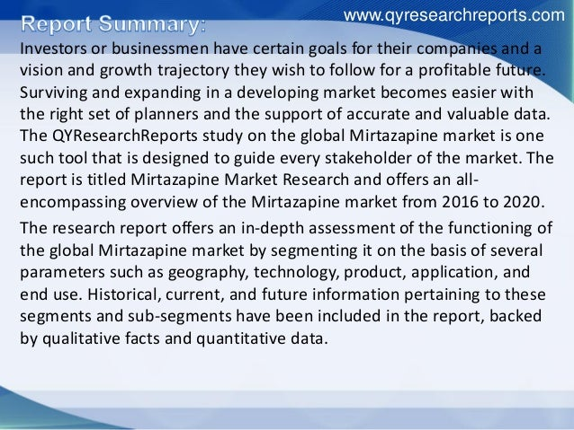 Global mirtazapine industry 2016 market growth, share, research, analysis and forecast Slide 2