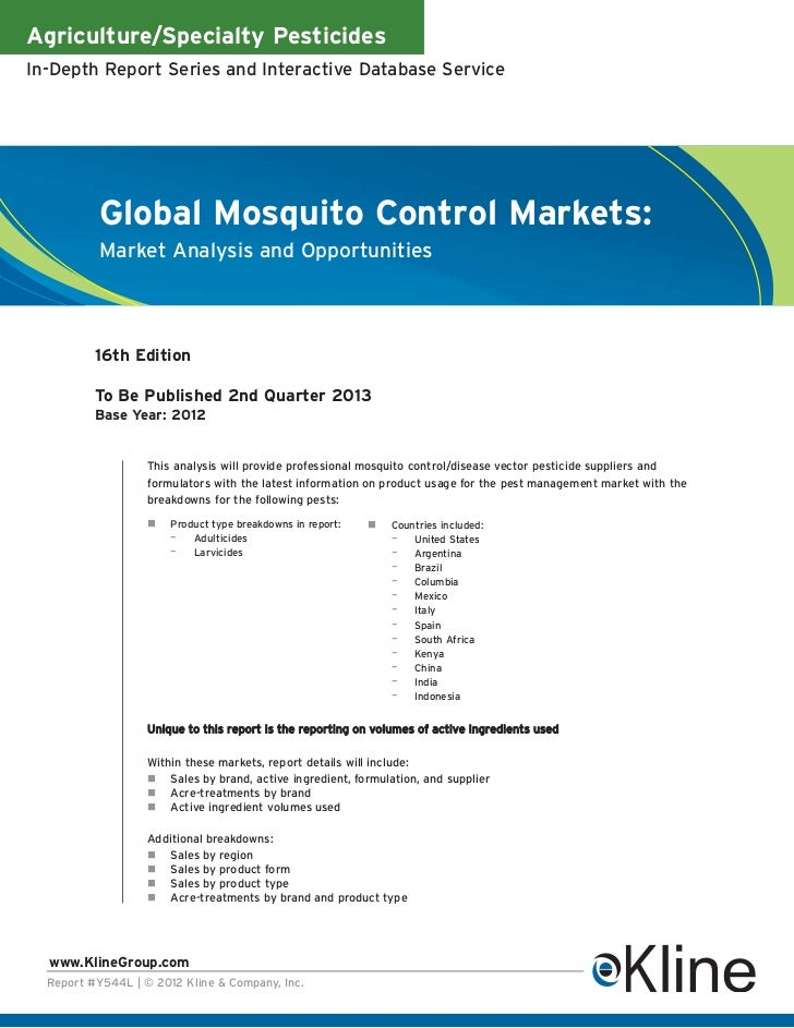 Agriculture/Specialty PesticidesIn-Depth Report Series and Interactive Database Service          Global Mosquito Control M...