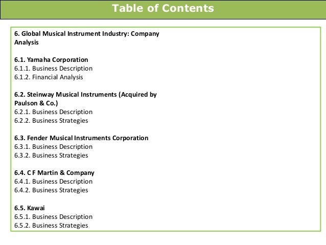 Table of Contents 6. Global Musical Instrument Industry: Company Analysis 6.1. Yamaha Corporation 6.1.1. Business Descript...