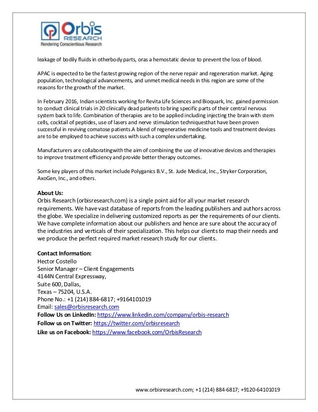 nerve repair and regeneration market worth San francisco, may 8, 2018 /prnewswire/ — the global nerve repair and regeneration market is expected to reach usd 157 billion by.