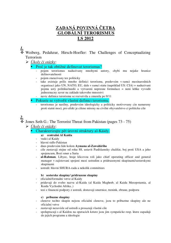 ZADANÁ POVINNÁ ČETBA                          GLOBÁLNÍ TERORISMUS                                LS 20121. Weiberg, Pedah...