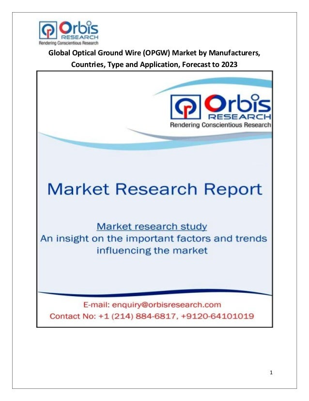 Global optical ground wire (opgw) market by manufacturers, countries,…