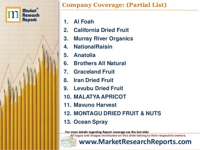 research report on global dried fruit Global dried fruit & nuts market research report 2018 traces the major market events including product launches, technological developments, mergers & acquisitions, and the unconventional business strategies chosen by key market players this report recognizes that in this rapidly-evolving and.