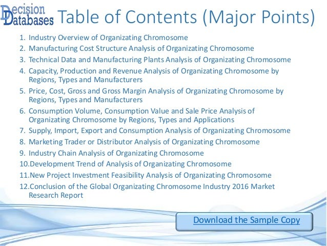 Table of Contents (Major Points) 1. Industry Overview of Organizating Chromosome 2. Manufacturing Cost Structure Analysis ...