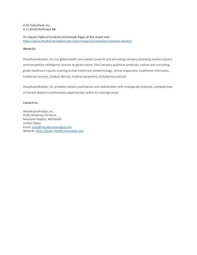 Global organ preservation solutions market