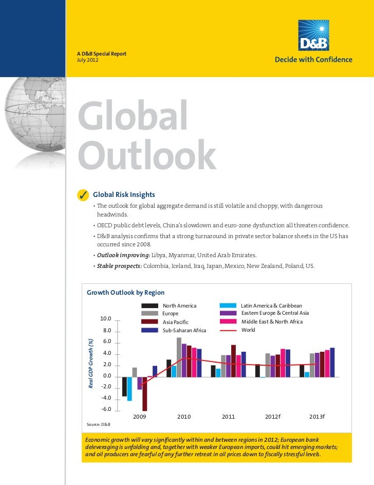A D&B Special ReportJuly 2012GlobalOutlook3                    Global Risk Insights                     • The outlook for ...