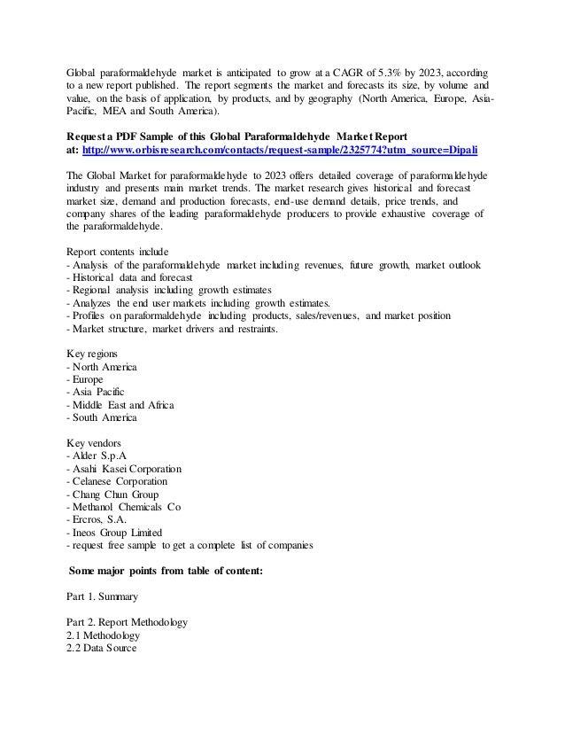 Global paraformaldehyde market