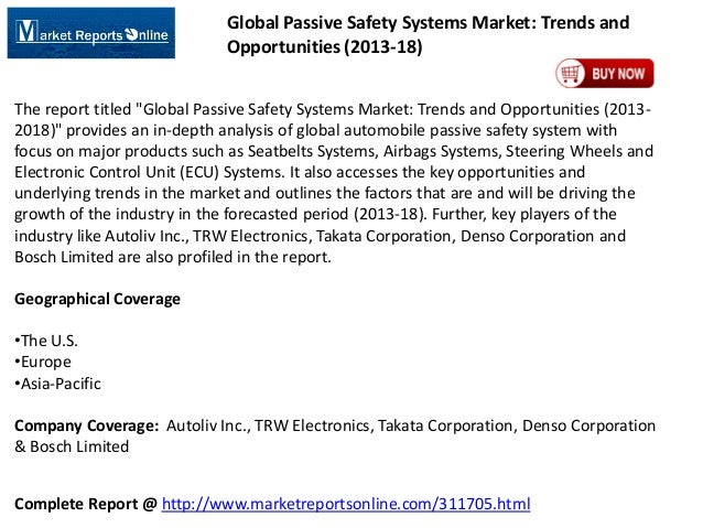 """Global Passive Safety Systems Market: Trends and Opportunities (2013-18) The report titled """"Global Passive Safety Systems ..."""