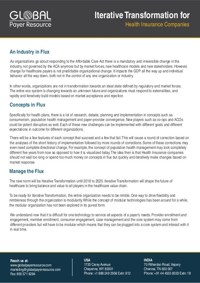 GL BAL  Iterative Transformation for Health Insurance Companies  An Industry in Flux As organizations go about responding ...