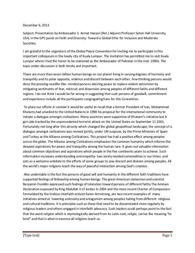 December 6, 2013 Subject: Presentation by Ambassador S. Azmat Hassan (Ret.) Adjunct Professor Seton Hall University, USA, ...
