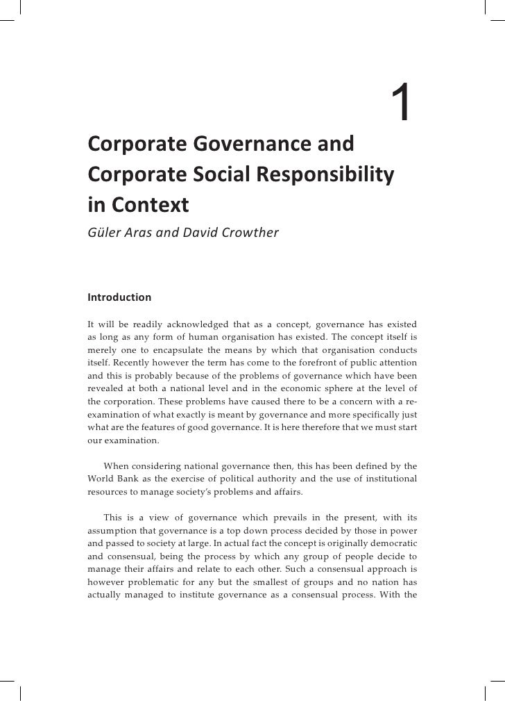 corporate governance and csr a tool This paper highlights the need for regulatory tools to transform global  governance csr requires the development of public accountability mechanisms  for.