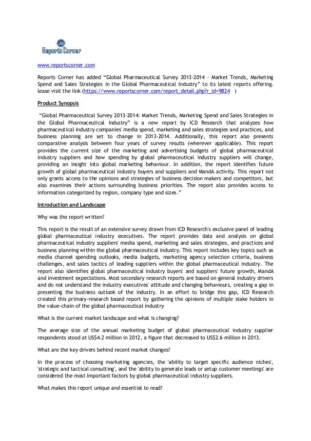 "www.reportscorner.comReports Corner has added ""Global Pharmaceutical Survey 2013-2014 - Market Trends, MarketingSpend and ..."