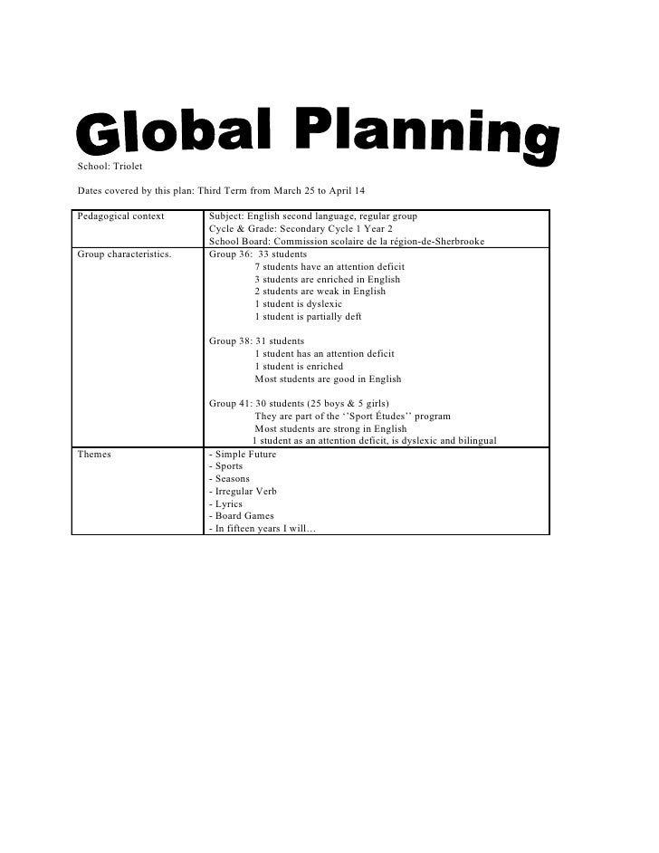School: Triolet  Dates covered by this plan: Third Term from March 25 to April 14  Pedagogical context          Subject: E...