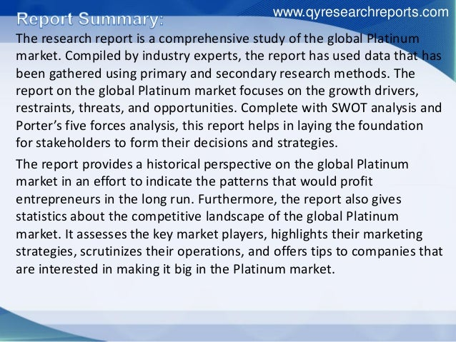 The research report is a comprehensive study of the global Platinum market. Compiled by industry experts, the report has u...