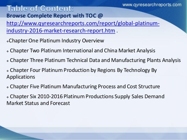 Browse Complete Report with TOC @ http://www.qyresearchreports.com/report/global-platinum- industry-2016-market-research-r...
