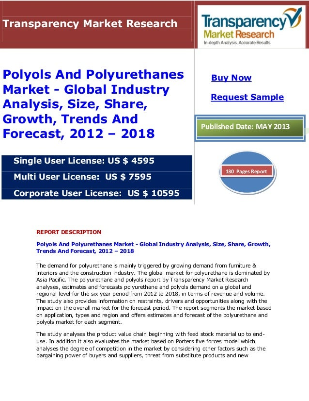 REPORT DESCRIPTIONPolyols And Polyurethanes Market - Global Industry Analysis, Size, Share, Growth,Trends And Forecast, 20...