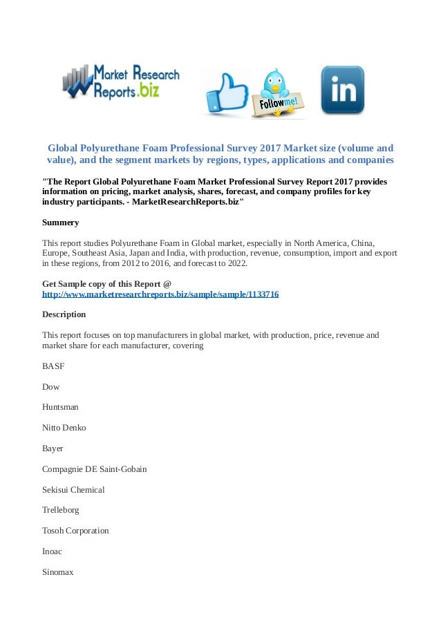 Global polyurethane foam professional survey 2017 market
